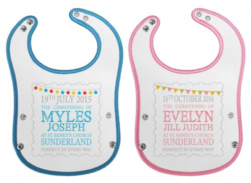 Personalised Perfect In Every Way Waterproof Neoprene Baby Pocket Bib w/Buttons